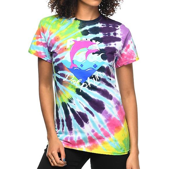 ce930cd6 PInk Dolphin waves tie dye Tshirt NWT
